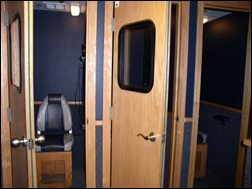 Interior view mobile hearing testing unit